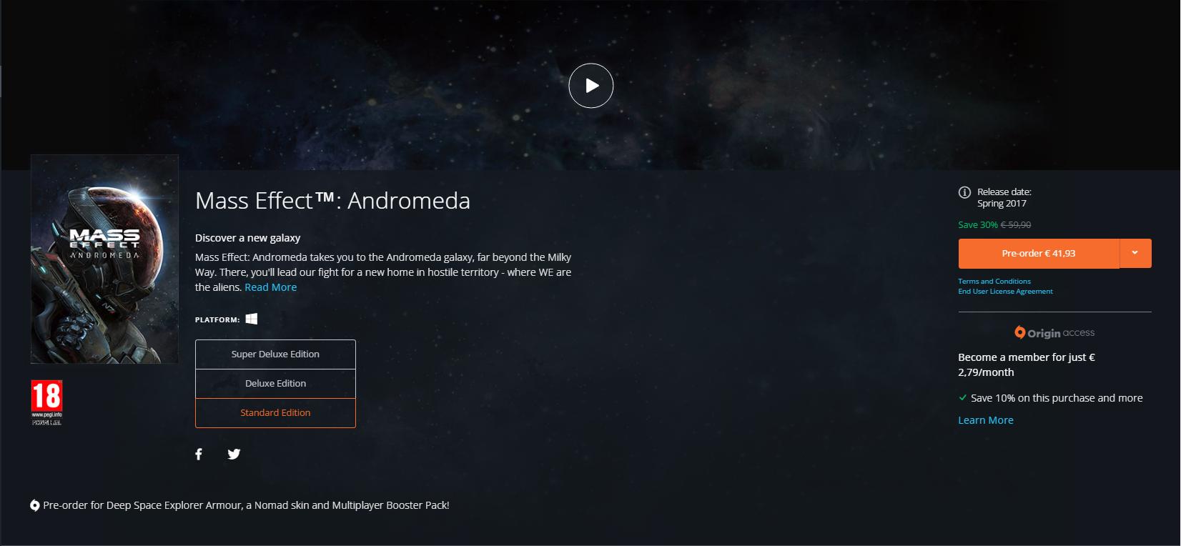 ME Andromeda Origin