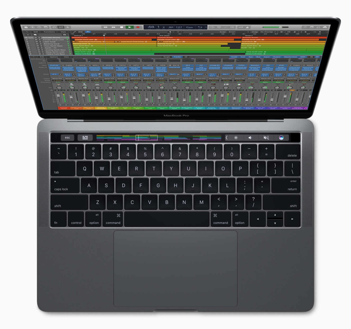 logic-pro-macbookpro-touchbar-top-view