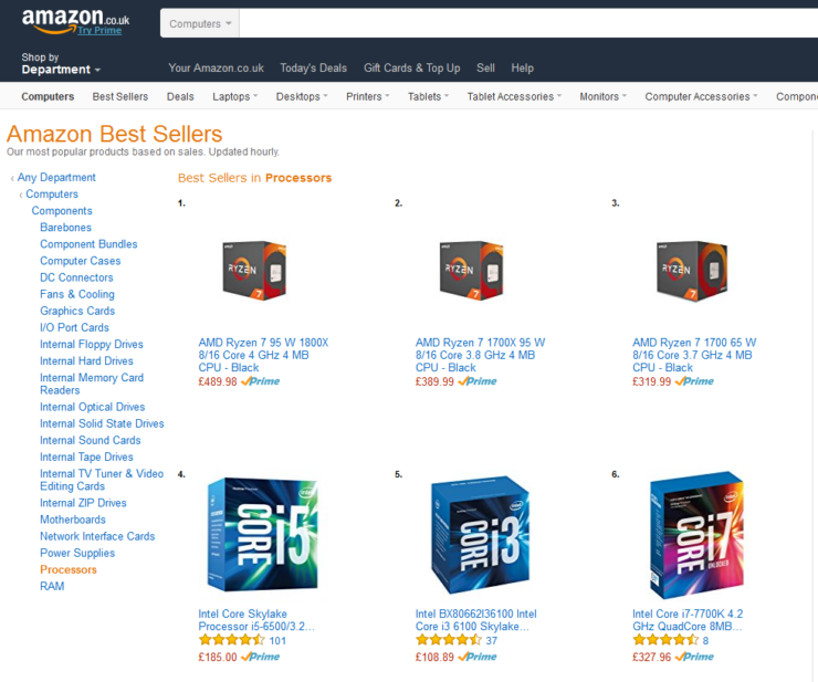 AMAZON UK BEST SELLER CPU