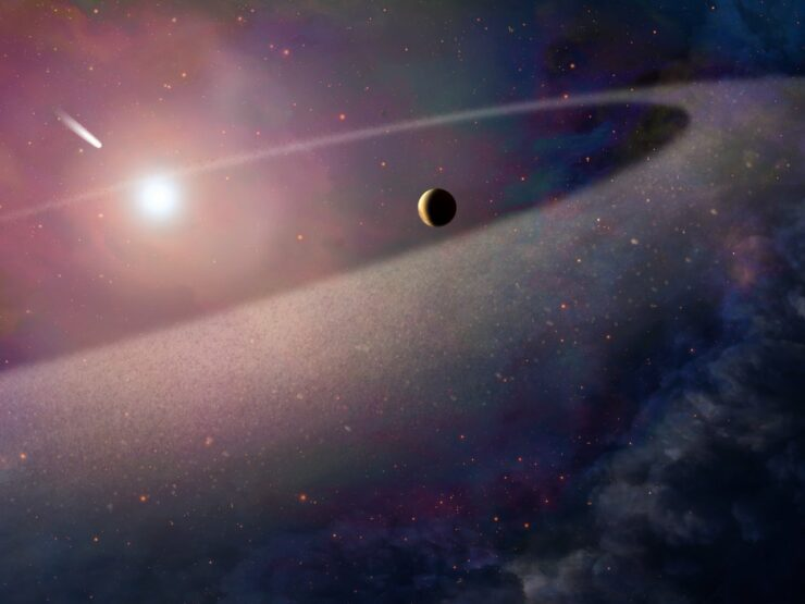 Hubble Space Telescope saw a white dwarf star rip apart a huge comet identical to Halley's comet but 100,000 its size.