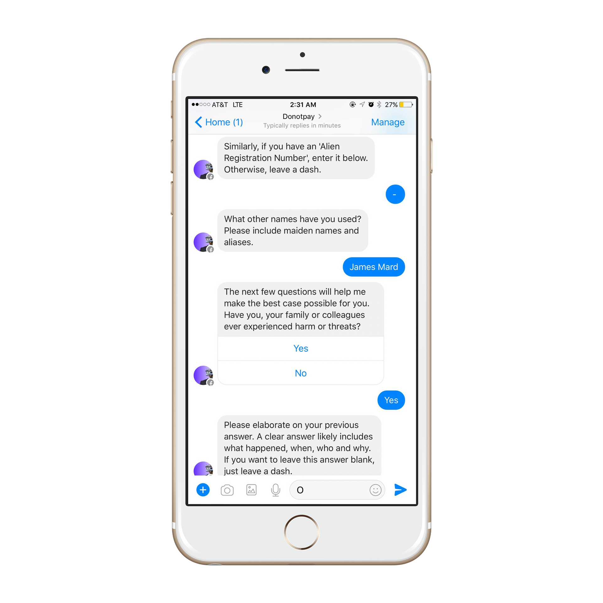 DoNotPay chatbot for refugees
