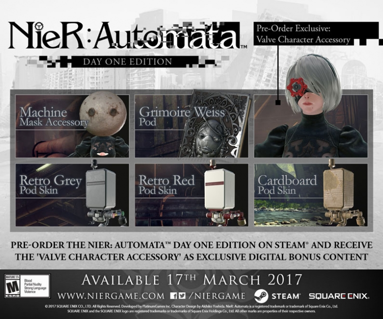 Nier Automata, the action role-playing game developed by Square Enix in collaboration with Platinum Games, is soon going to release on PlayStation 4 in the West, following last month's Japanese release, but we still don't know when it will become available on Steam. It looks like, however, the wait won't be too long. Earlier today, the Square Enix Online Store revealed that Nier Automata will launch on PC on March 17th, a week later than on PlayStation 4. The PC version will come with an exclusive Valve Character Accessory as pre-order bonus. The Nier Automata PC page on the store can no longer be reached, so it's possible that it went live earlier than anticipated. For this reason, we must take this release date with a grain of salt until an official announcement comes in. Nier Automata is set thousand of years after the first Nier, with humanity having been forced away from Earth due to an attack by invaders from another world. Invaders from another world attack without warning, unleashing their secret weapon: the machines. In the face of this insurmountable threat, the human race is driven from the earth and takes refuge on the moon. The humans develop an army of android soldiers to fight back against the mechanical horde, but succeed only in slowing its advance. To break the deadlock, a new breed of android infantry is sent into the fray: the YoRHa squad. In the forsaken wasteland below, the war between the machines and the androids rages on. A war that is soon to unveil the long-forgotten truth of this world… Nier Automata launches on PlayStation 4 on March 10th. We will kieep you updated on the release date for the PC version as soon as more comes in on it, so stay tuned for all the latest news.