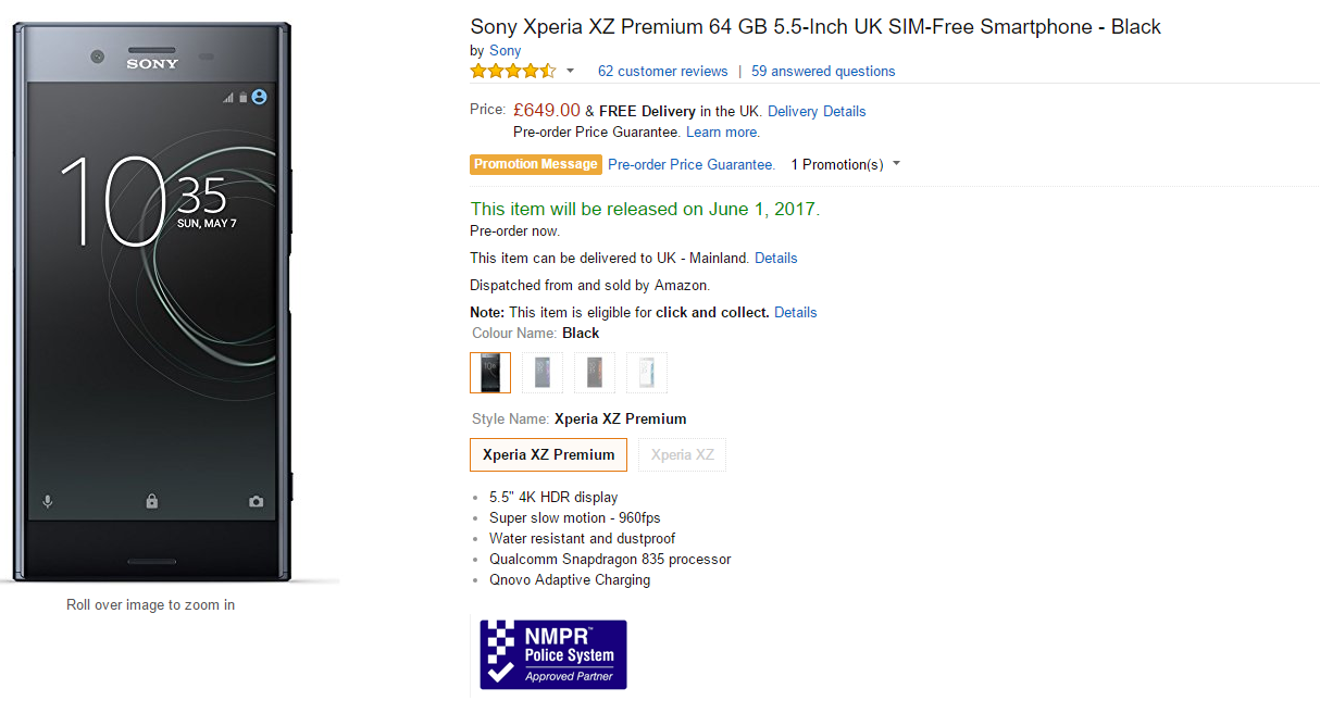 Xperia XZ Premium Pre-Orders Show up on Amazon With a