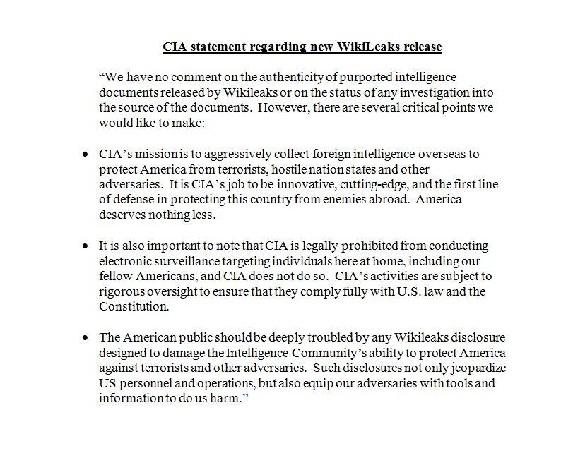 CIA wikileaks response