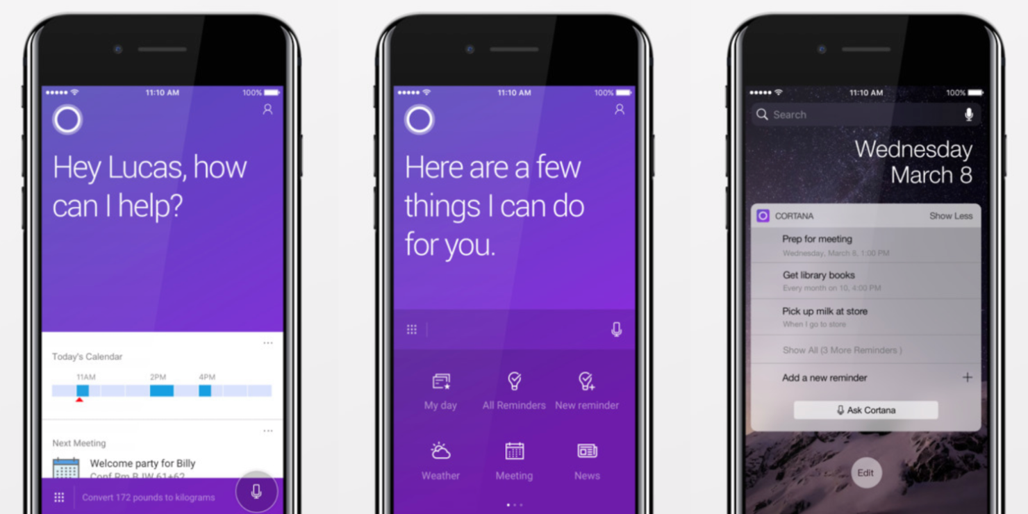 Microsoft's Cortana iPhone update