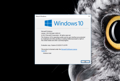 Windows 10 creators update version number
