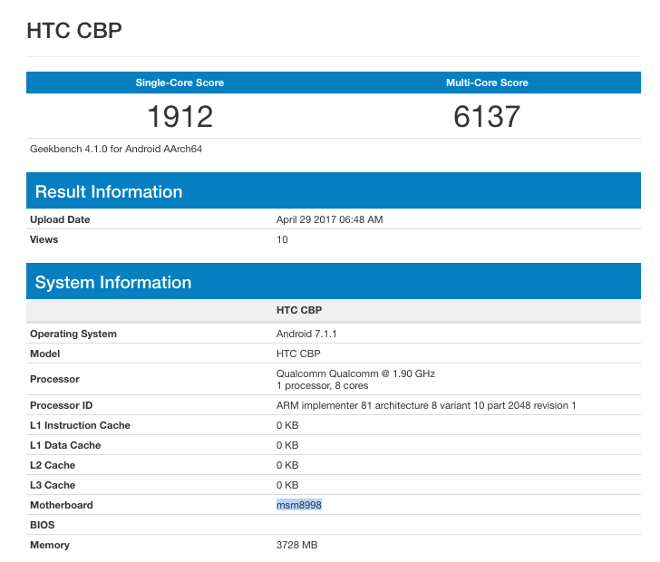 HTC U 11 Geekbench leak