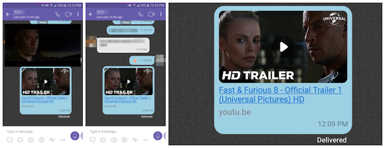 Viber YouTube playback