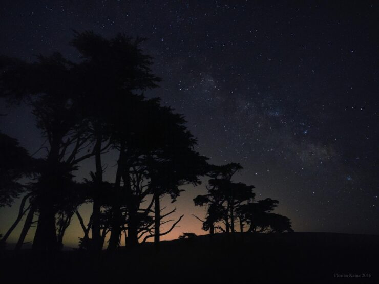Stars above Pierce Point Ranch, 64 2-second exposures, shot with Google Pixel