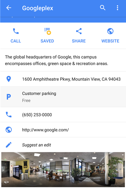 Google Maps destination parking