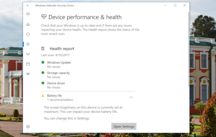 Windows 10 battery creators update