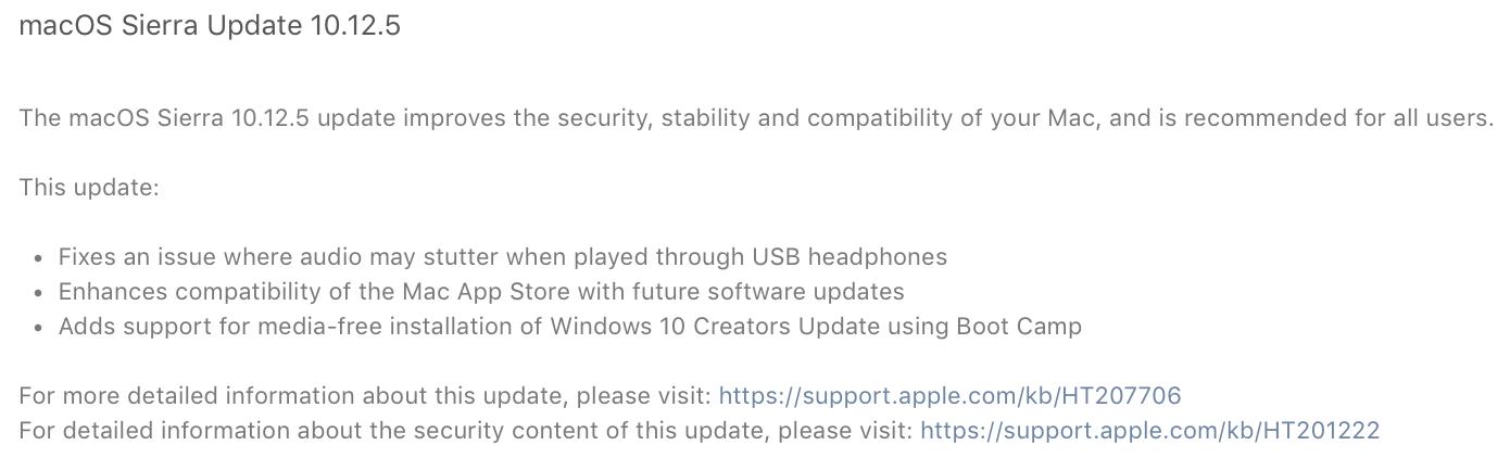 macOS Sierra 10.12.5