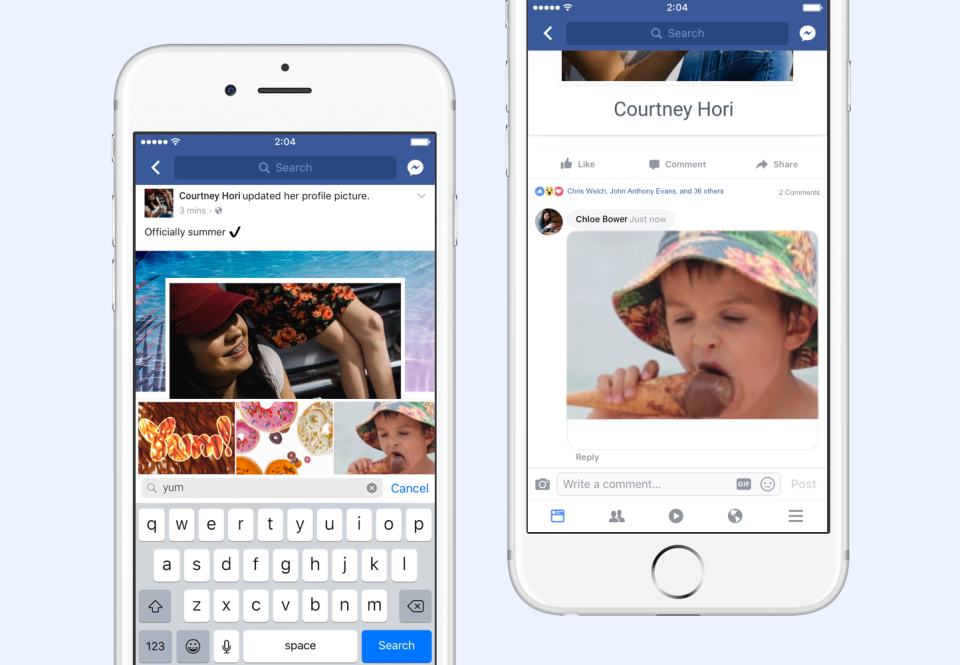 facebook adds a native gif button in its app allowing users to post