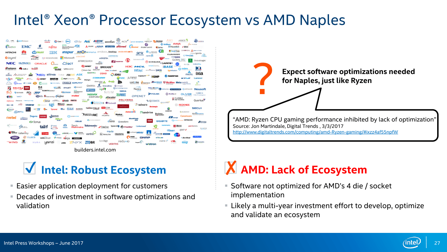 Intel Finally Replies to AMD Naples - Points Out HPC Achilles Heel