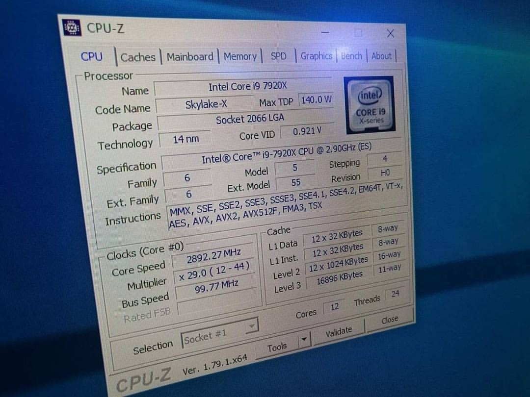 Intel Core i9-7920X CPU Full Specifications Leaked and Detailed