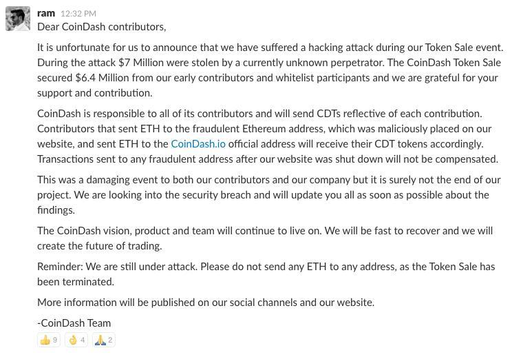 coindash ethereum attack