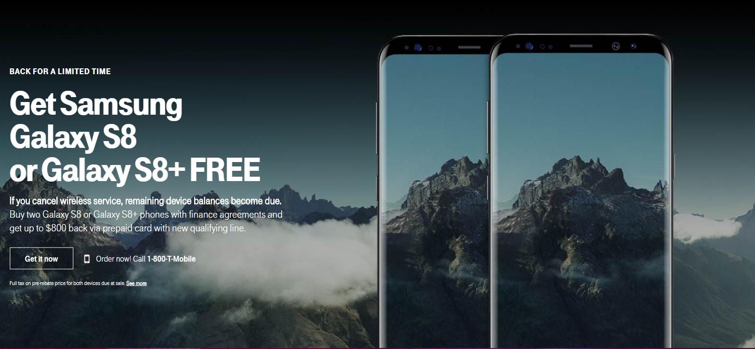 T-Mobile Has a 'Buy One Get One Free' Deal for Galaxy S8 and