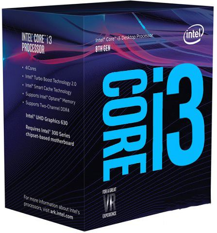 Intel Core i3 8100-3.6 GHz 4 cores BX80684I38100-4 threads 6 MB cache