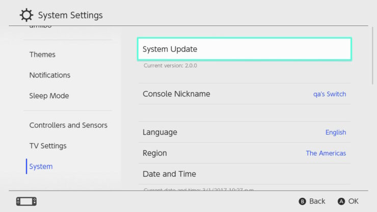 nintendo switch update 3.0.1