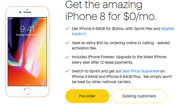 Iphone 8 Is Being Offered At 0 Via Sprint But An Eligible Trade In Phone Is Necessary