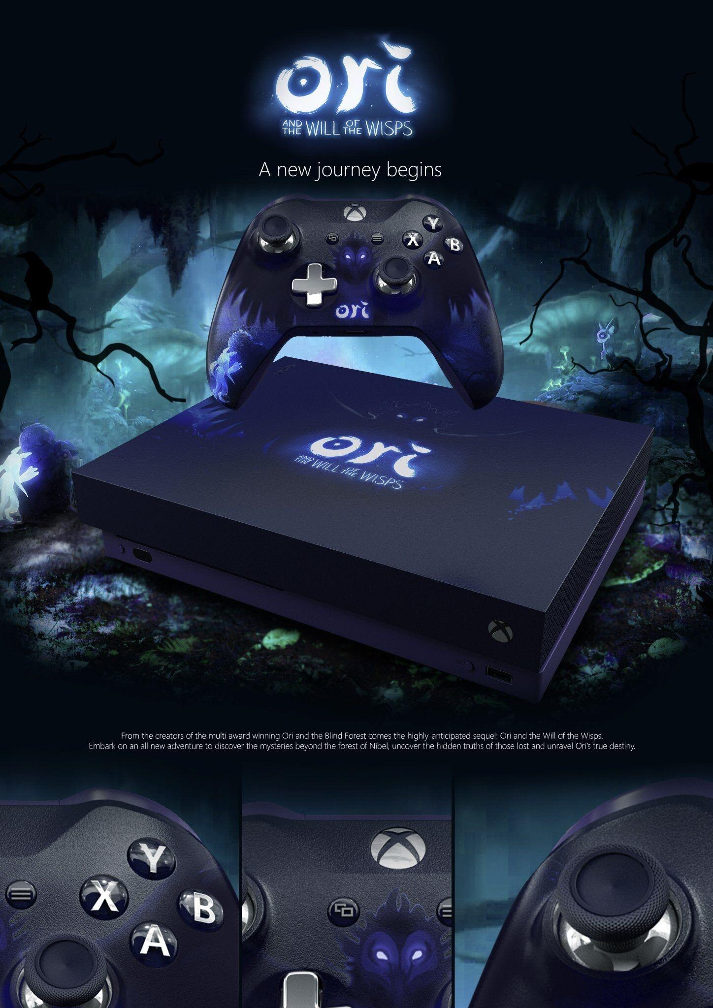 Custom Xbox One X Ori and the Will of the Wisps Fan Made Edition