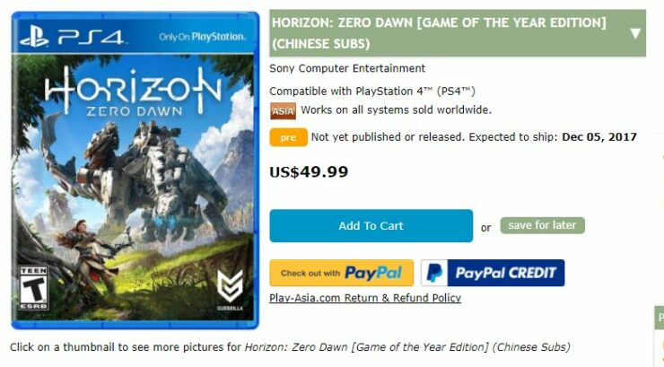 horizon zero dawn goty edition ps4