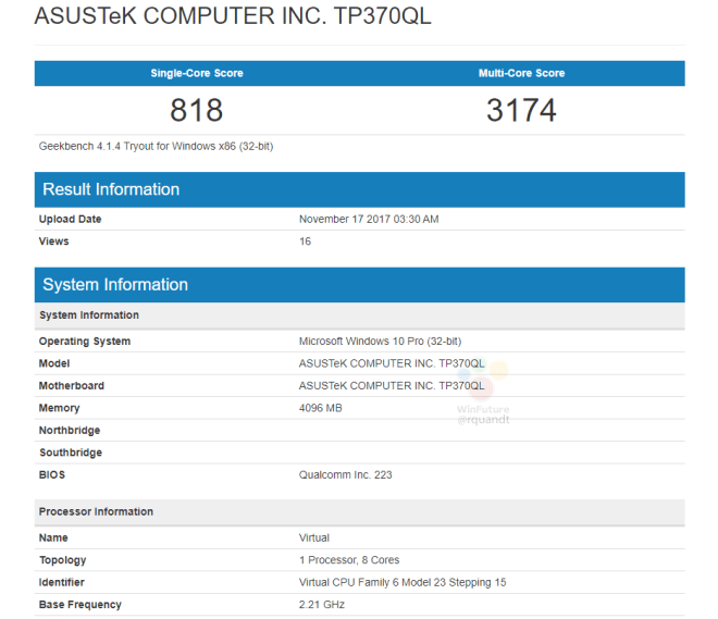 Snapdragon 835 notebooks Geekbench