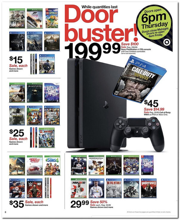 target black friday sales includes ps4 xbox one for under 200. Black Bedroom Furniture Sets. Home Design Ideas