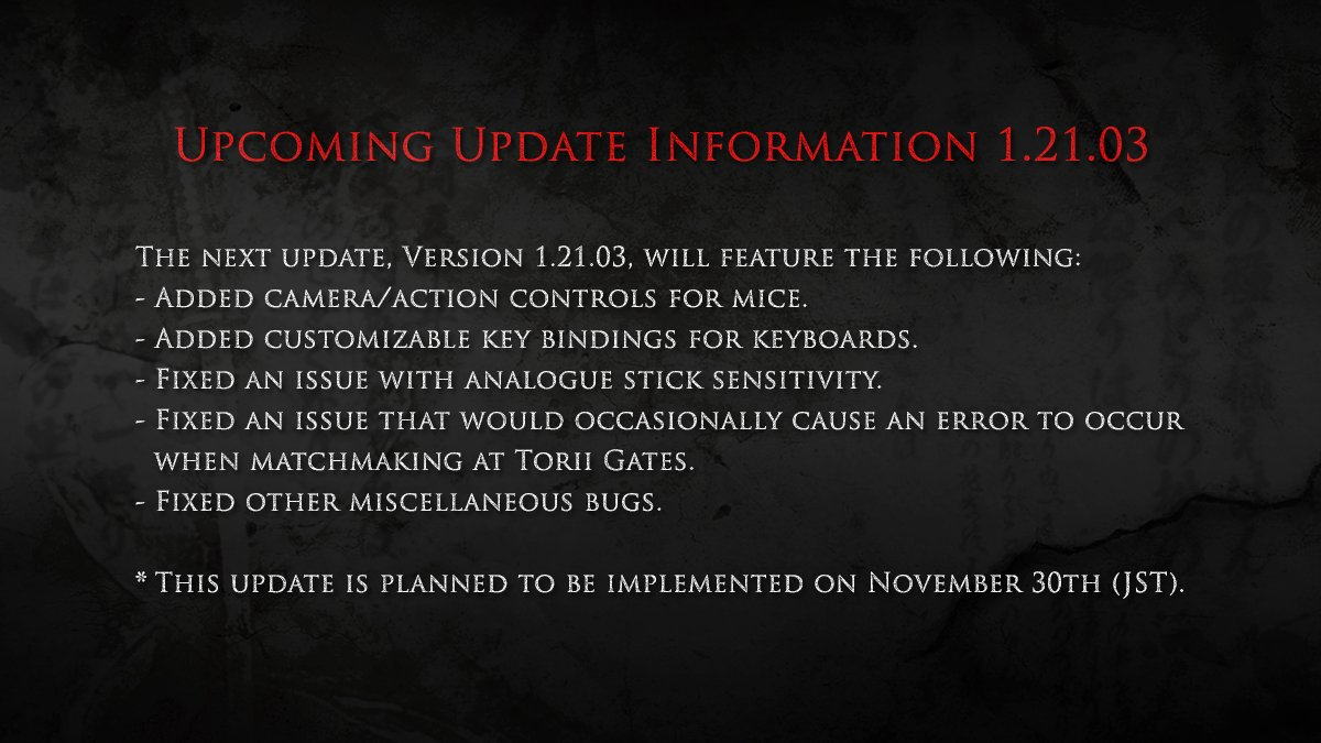 Nioh Getting New Update on PC with Mouse and Keyboard Support