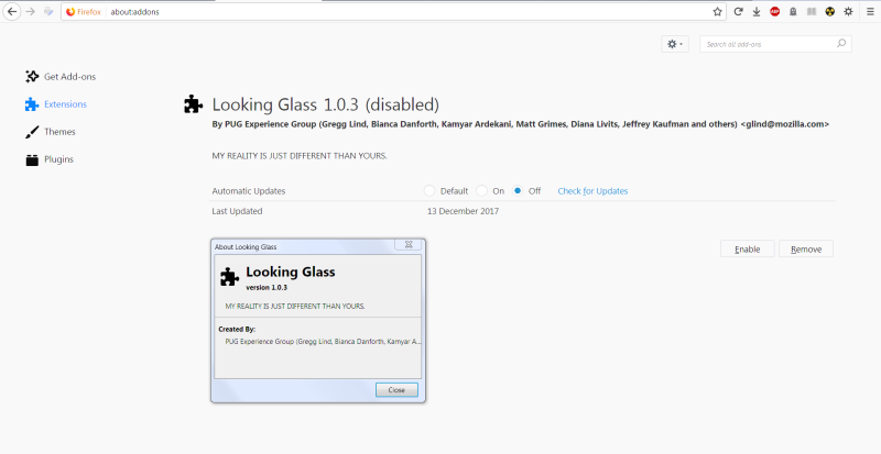 What is Looking Glass. : firefox
