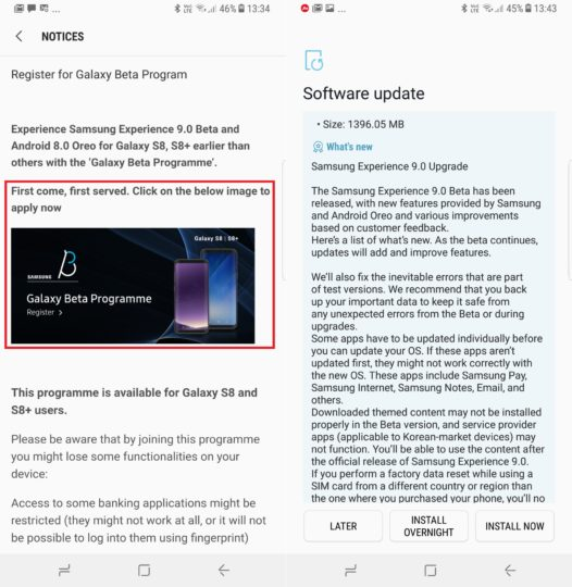 Galaxy S8 beta program