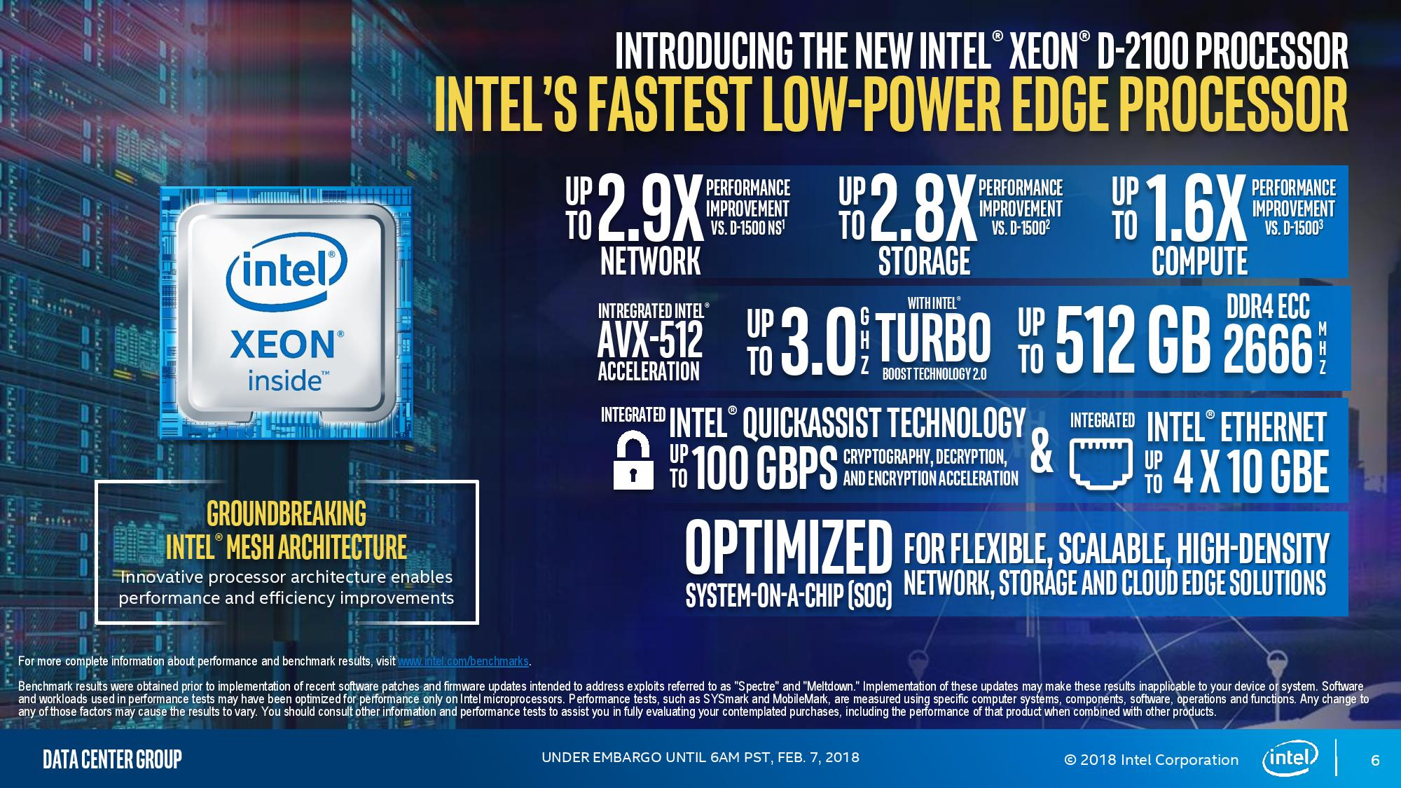 Intel Launches New Xeon-D 2100 Series Lineup - Up To 18 AVX