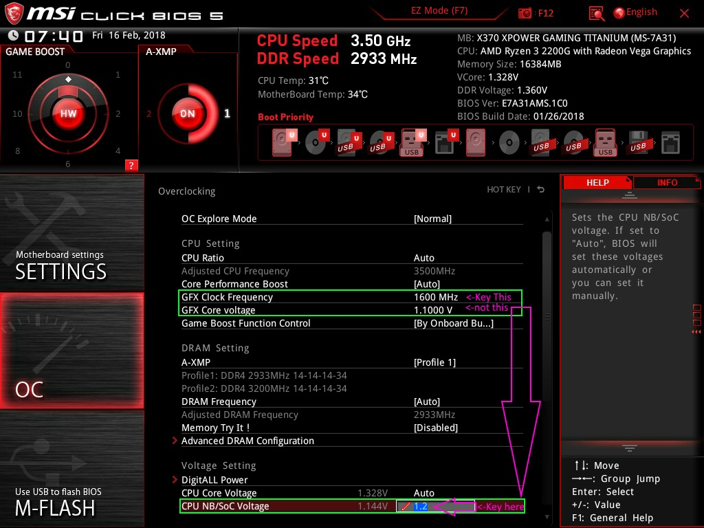 2200G Vega 8 OC: Is GFX voltage and SOC voltage the same? : Amd