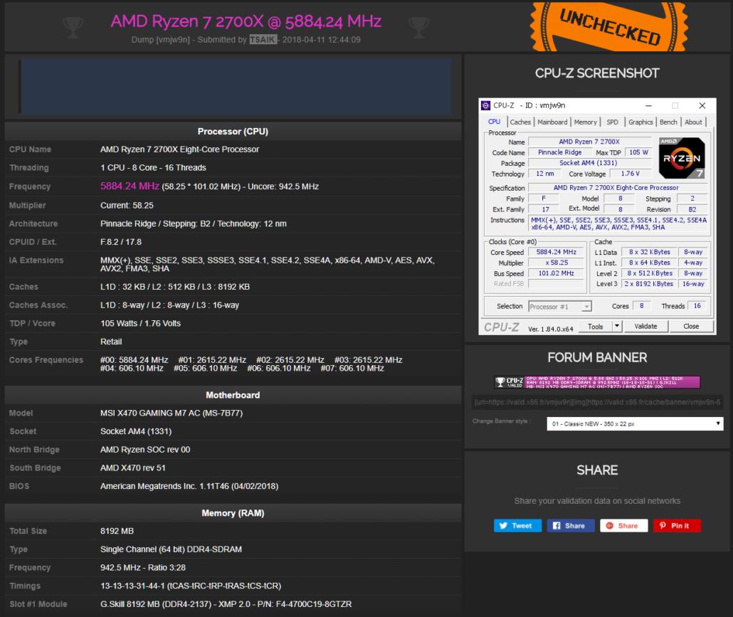 AMD Ryzen 7 2700X OC 5.88 GHz