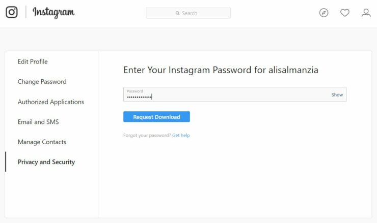 instagram download data