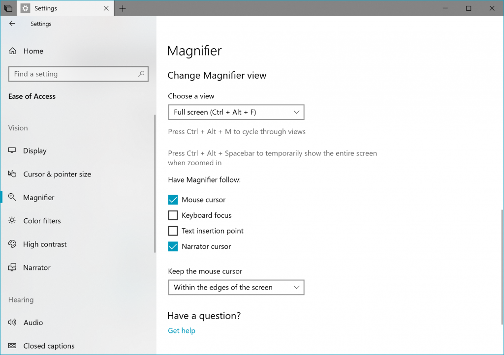 windows 10 redstone 5 magnifier