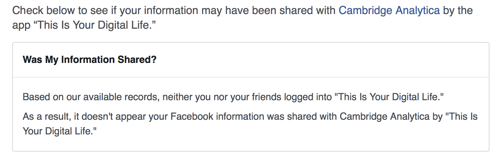 facebook cambridge analytica were you affected