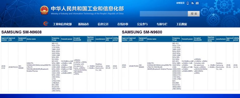 The Samsung Galaxy Note 9 Receives Chinese Ministry Of Industry ...