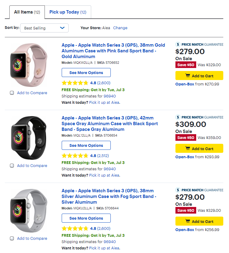 9ddd9139f27 Apple Watch Series 3 Non-Cellular Models Are Going for  50 Discount ...