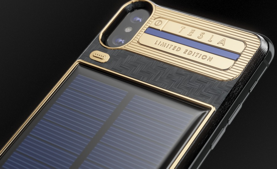 the best attitude 60093 c9f93 Luxury Battery Case iPhone X Tesla With Built-In Solar Panel Is Now ...