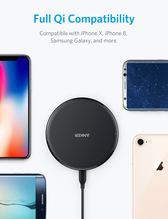 deal alert qi certified iphone android compatible wireless charger from anker down to just 11. Black Bedroom Furniture Sets. Home Design Ideas