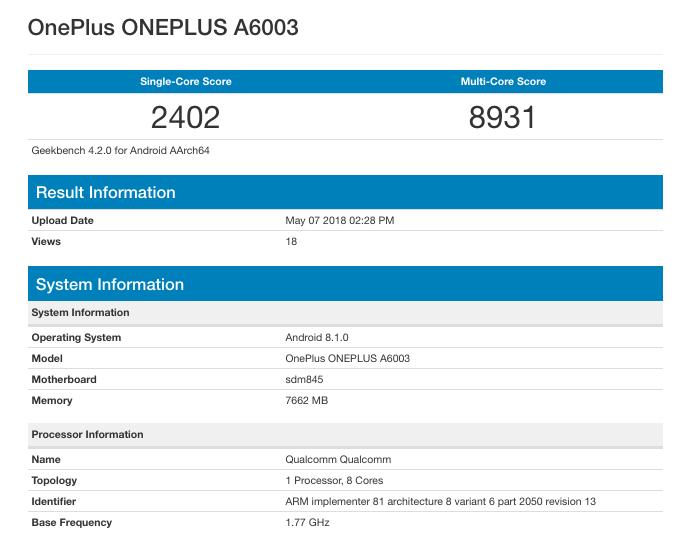 oneplus-6-geekbench-score-sdm845-8gb