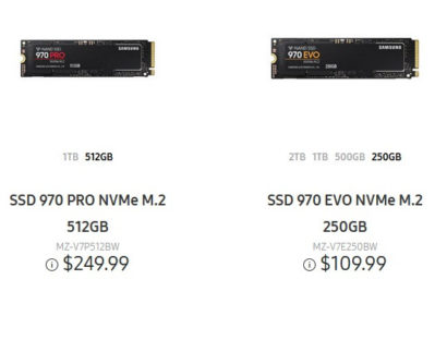 Samsung 970 Pro and 970 Evo SSDs launch well below original MSRP