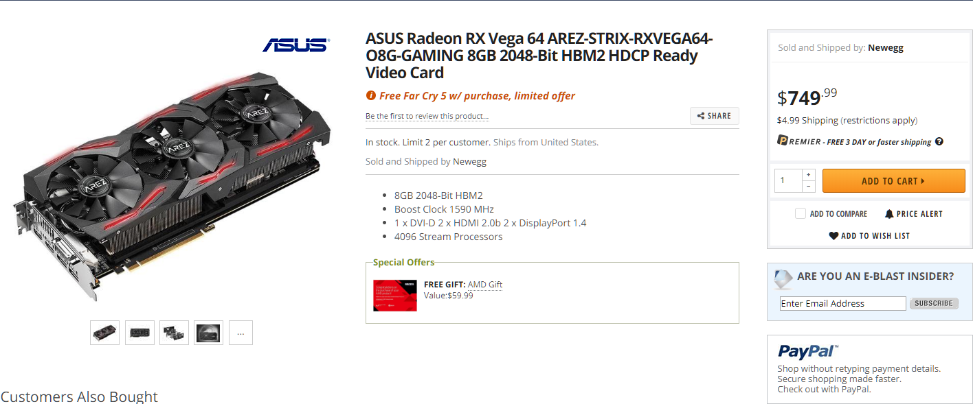 ASUS Radeon RX Vega 64 AREZ STRIX Available For Sale at $749 99 US