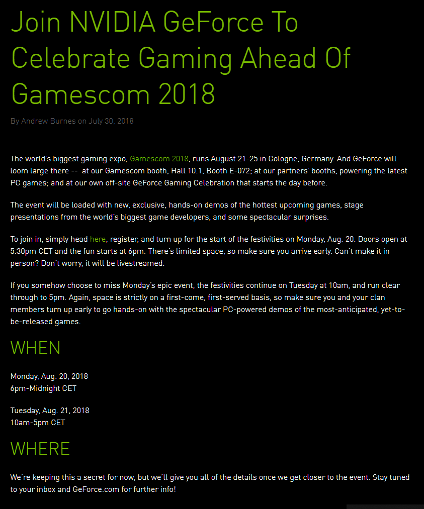 NVIDIA announces GeForce Gaming Celebration ahead of Gamescom 2018 with spectacular surprises