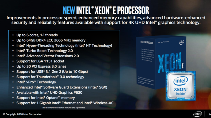 Intel Xeon-E 2100 CPU Features