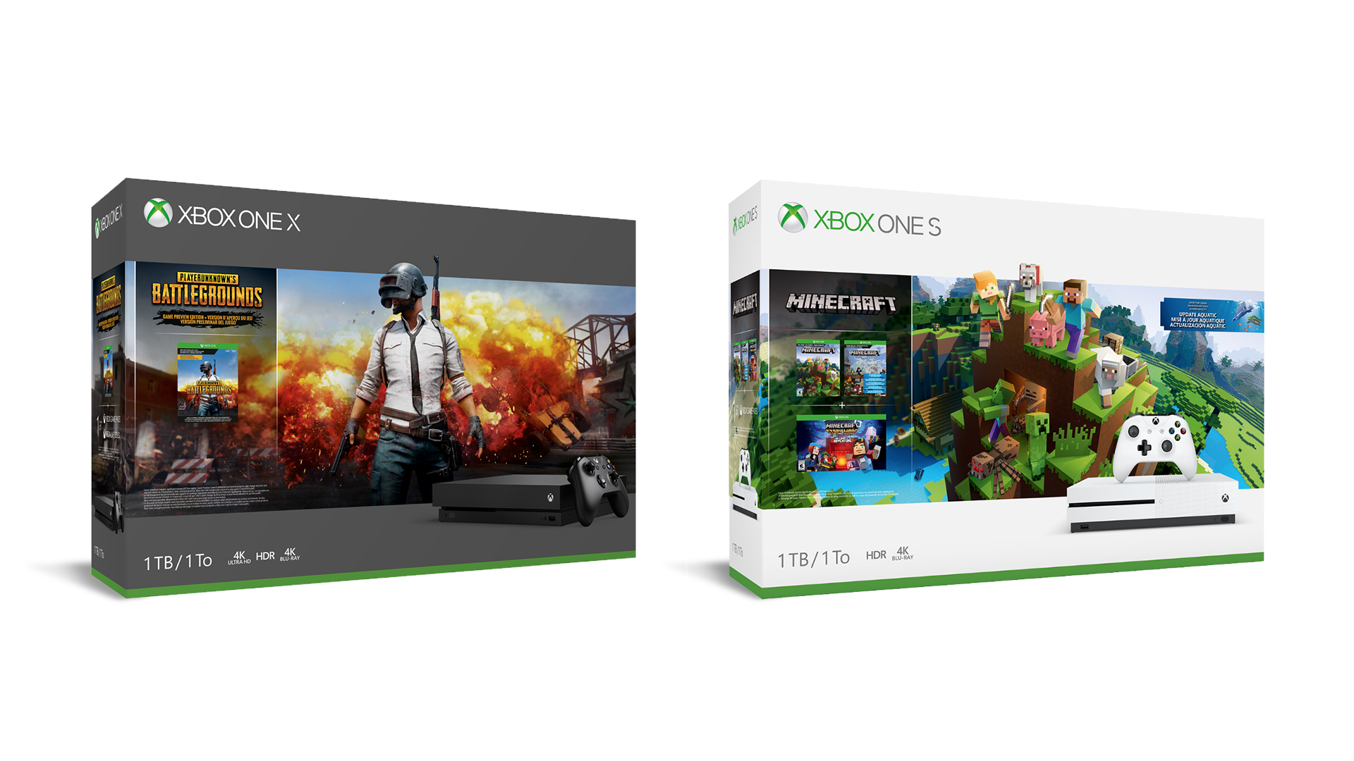 Microsoft Announces New Xbox One X PUBG Bundle & One S Minecraft