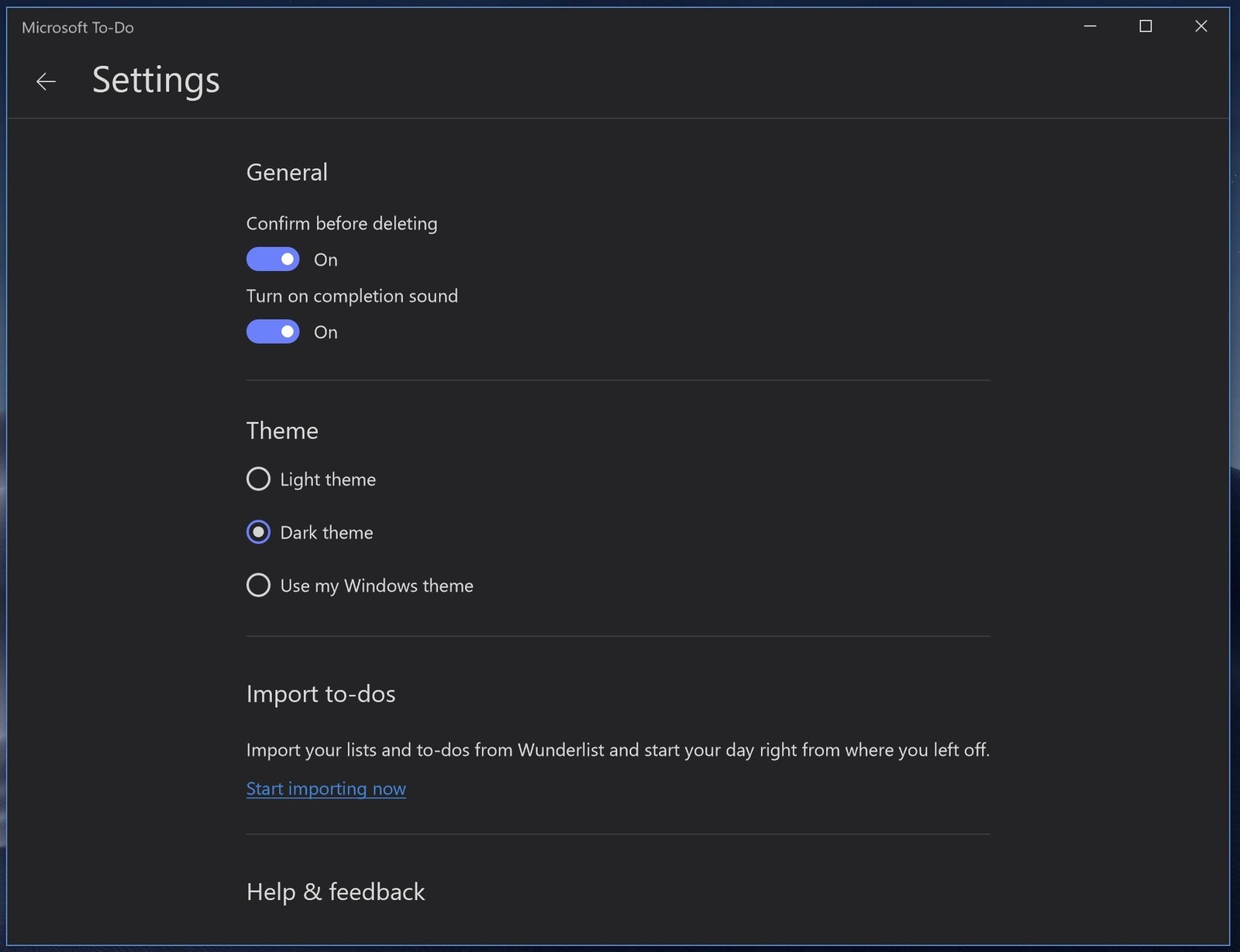 Dark Theme Rolls Out to All To-Do Users on Windows 10