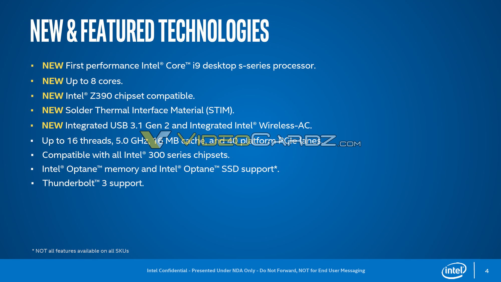 Intel 9th Gen Core CPU Lineup Specs Confirmed, 8 Cores Rock