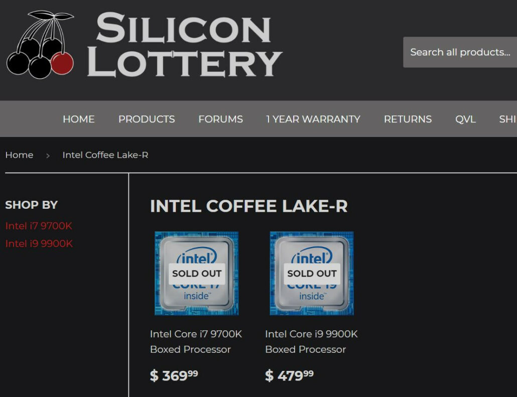 Intel Core i9-9900K & Core i7-9700K CPU Prices